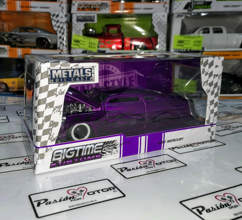 1:24 Mercury 1951 Purpura C Flamas Hot Rod Jada Toys Big Time Kustoms C Caja