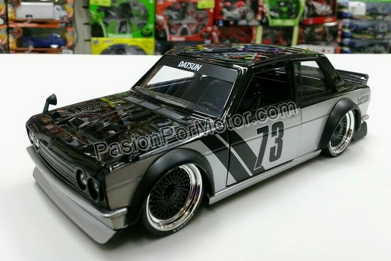 1:24 Datsun 510 Widebody 1973 Negro Plata Jada Toys JDM Tuners En Display / A Granel