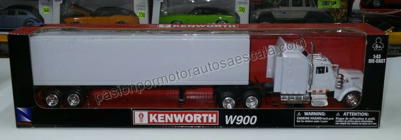 1:43 Kenworth W900 1979 C Caja Seca Blanco Liso Trailer New Ray