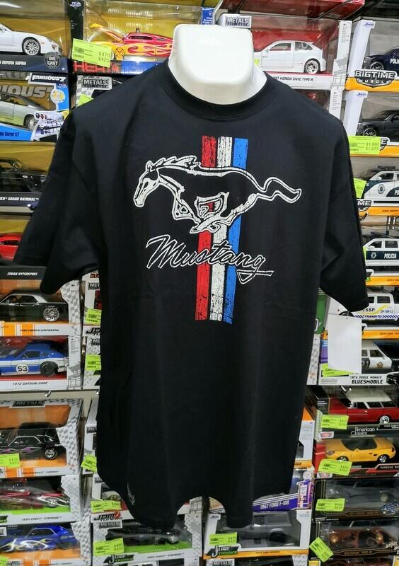 Playera Impresa Negra Ford Mustang Logo Talla Extra Grande
