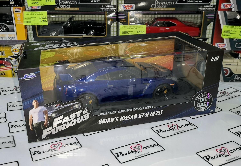 1:18 Nissan GT-R R35 2009 Azul Brian's Rapido y Furioso