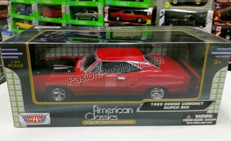 1:24 Dodge Coronet Super Bee 1969 Rojo Motor Max C Caja Mopar