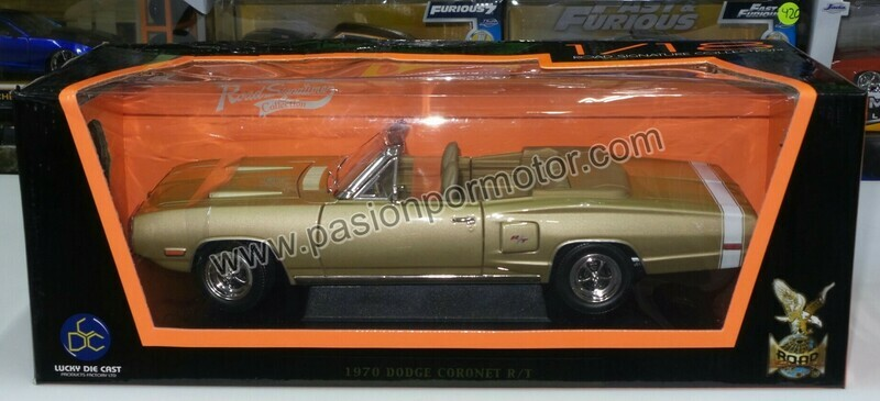 1:18 Dodge Coronet R/T Convertible 1970 Ocre Lucky Die Cast - Road Signature