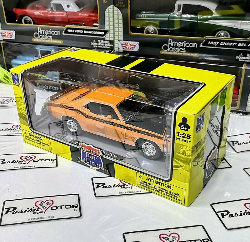 1:25 Plymouth Cuda 1970 Naranja New Ray Muscle Car Collection C Caja