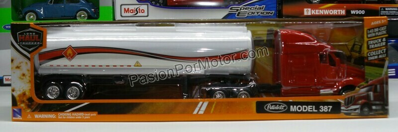 1:43 Peterbilt Model 387 1999 Rojo Con Trailer Pipa New Ray