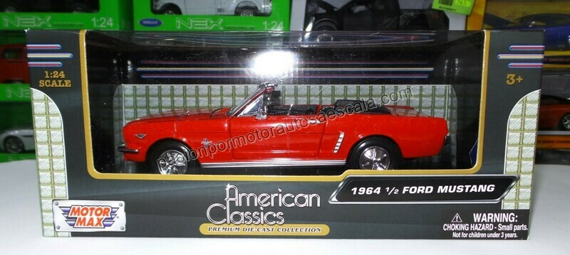 1:24 Ford Mustang Convertible 1964 1/2 Rojo Motor Max C Caja Mach Shelby