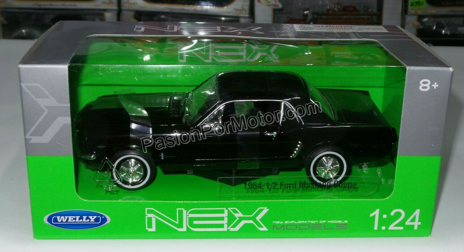 1:24 Ford Mustang Hard Top 1964 1/2 Negro Welly C Caja
