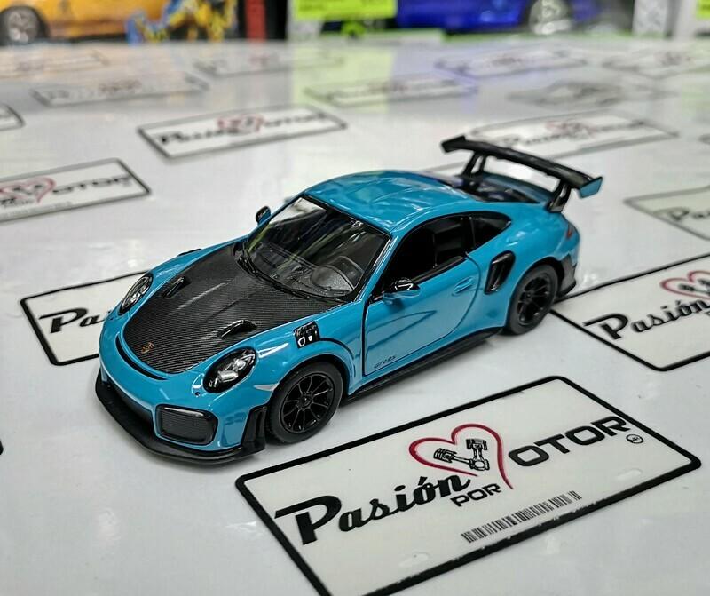 1:36 Porsche 911 GT2 RS 991 2017 Azul Kinsmart En Display a Granel 1:32