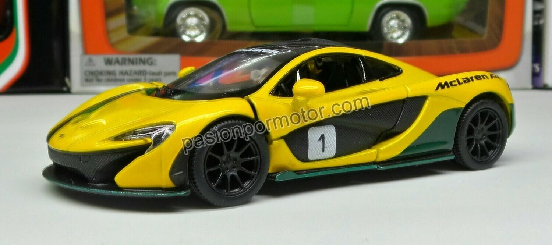 1:36 McLaren P1 2013 Amarillo #1 Kinsmart En Display / a Granel 1:32