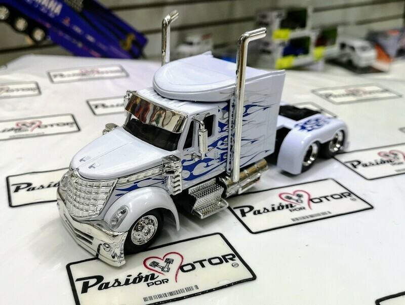 1:43 International Lonestar Custom Blanco Flamas Azul Cabina Tracto New Ray