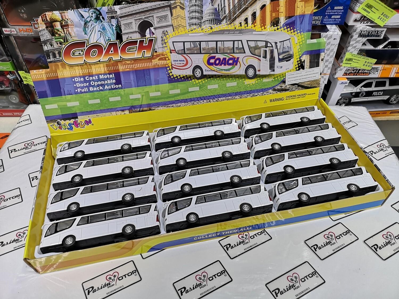 Caja con 12 piezas de 1:68 Scania Irizar Pb Blanco Autobus Kinsfun 1:64