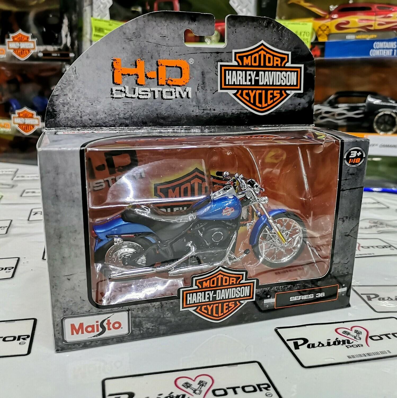 1:18 Harley Davidson FXSTB Night Train 2002 Azul Maisto H-D Custom Serie 36
