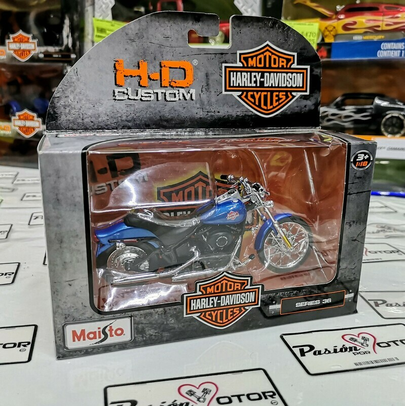 1:18 Harley Davidson FXSTB Night Train 2002 Azul Maisto H-D Custom Serie 36