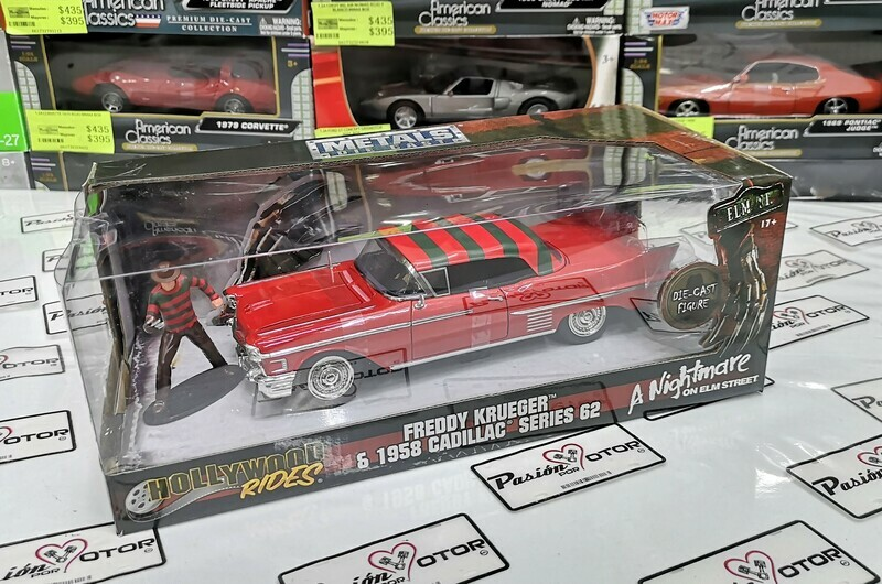 1:24 Cadillac Series 62 1958 & Freddy Krueger A Night Mare On Elm Street Jada Toys Metals Hollywood Rides