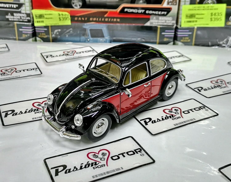 1:24 Volkswagen Beetle 1967 Classic Negro Con Rojo Kinsmart En Display / A Granel