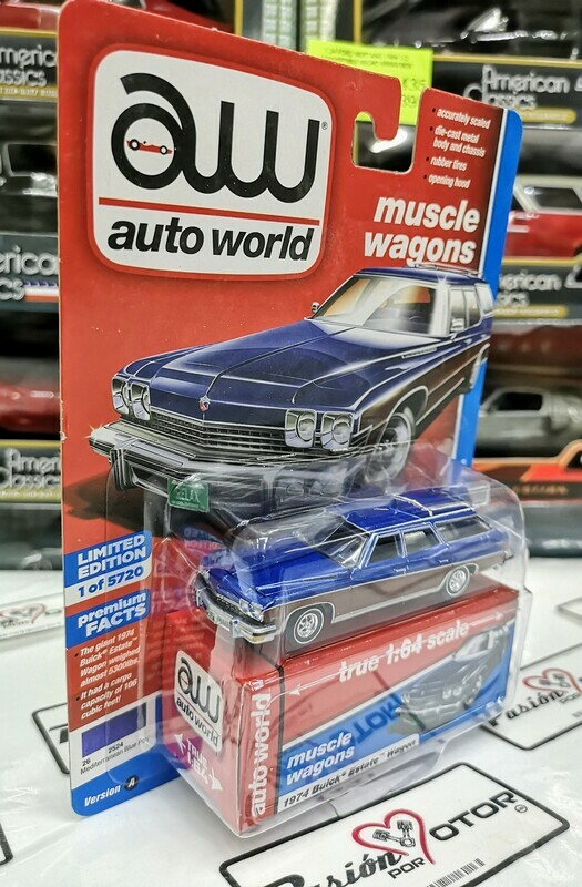 1:64 Buick Estate Wagon 1974 Azul Auto World Premium Series Guayin
