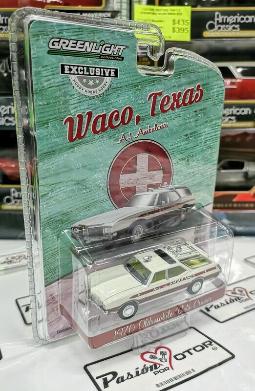1:64 Oldsmobile Vista Cruiser 1970 Ambulancia Waco Texas, Greenlight Exclusive