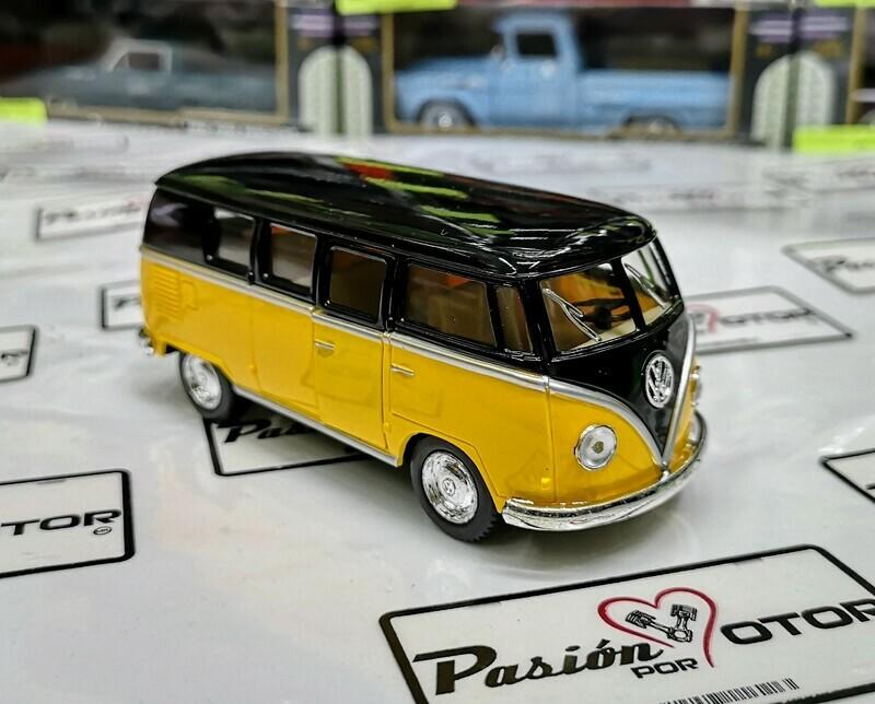 1:32 Volkswagen Combi Classical Bus 1962 Negro Amarillo Kinsmart En Display / A Granel