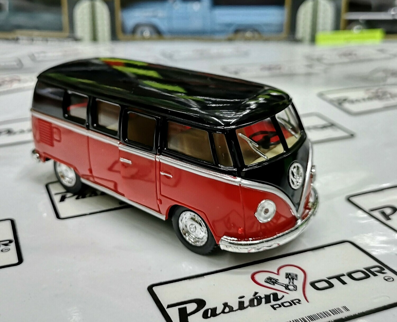 1:32 Volkswagen Combi Classical Bus 1962 Negro Rojo Kinsmart En Display / A Granel