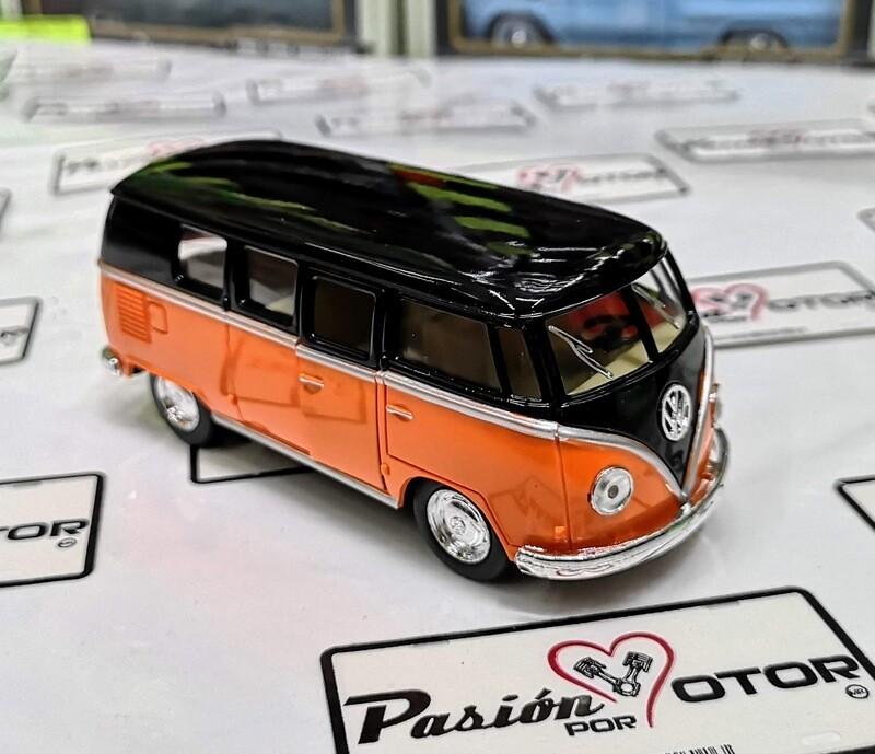1:32 Volkswagen Combi Classical Bus 1962 Negro Naranja Kinsmart En Display / A Granel