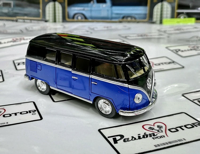 1:32 Volkswagen Combi Classical Bus 1962 Negro Azul Kinsmart En Display / A Granel
