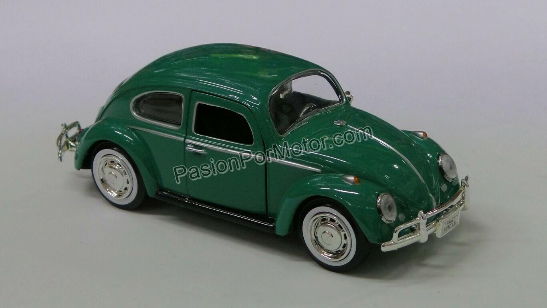 1:24 Volkswagen Beetle 1966 Verde Motor Max Vocho C Caja