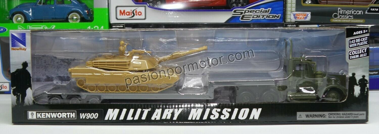 1:43 Kenworth W900 Day Cab 1979 Trailer Low Boy C Tanque Militar Verde New Ray