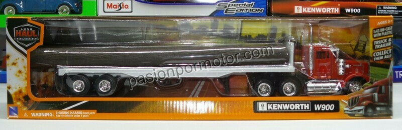 1:43 Kenworth W900 1979 Day Cab Rojo C Trailer Caja Plana y Troncos New Ray
