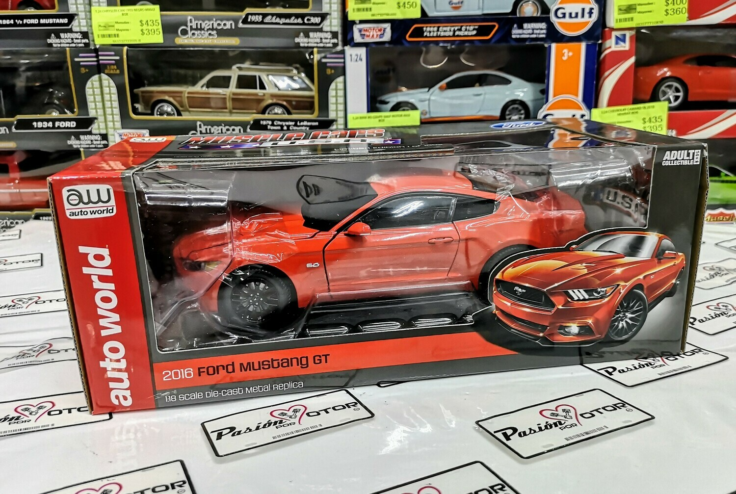 1:18 Ford Mustang GT 2016 Naranja Auto World Muscle Cars U.S.A.