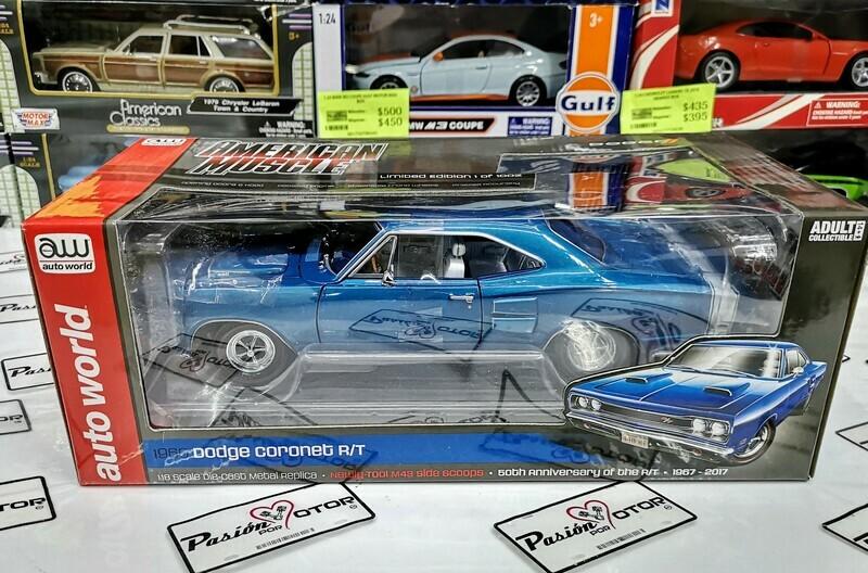 1:18 Dodge Coronet R/T 440 1969 Azul Auto World American Mucle Mopar