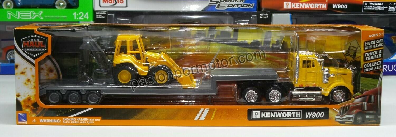 1:43 Kenworth W900 Day Cab 1979 Trailer Low Boy C Retro Excavadora Amarillo New Ray