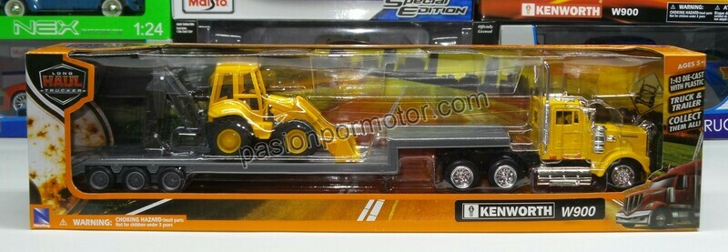 1:43 Kenworth W900 Day Cab 1979 Trailer Low Boy C Retro Excavadora Amarillo New Ray