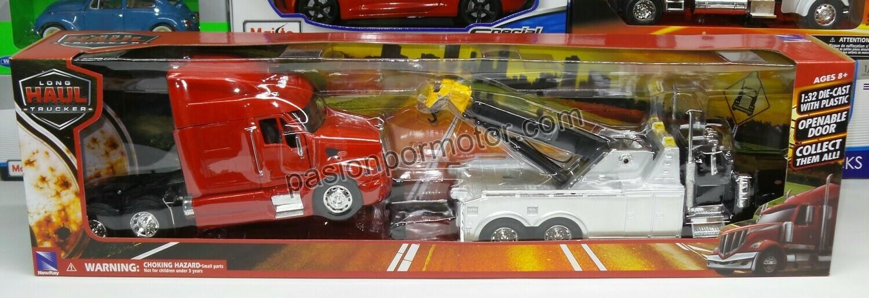 1:32 Peterbilt Model 379 1987 Grua de Arrastre Negro y Cromo + Peterbilt Model 387 Cabina Roja New Ray