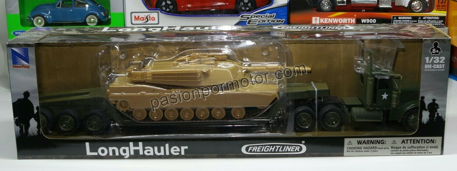 1:32 Freightliner Classic XL Day Cab C Trailer Low Boy y Tanque Militar New Ray