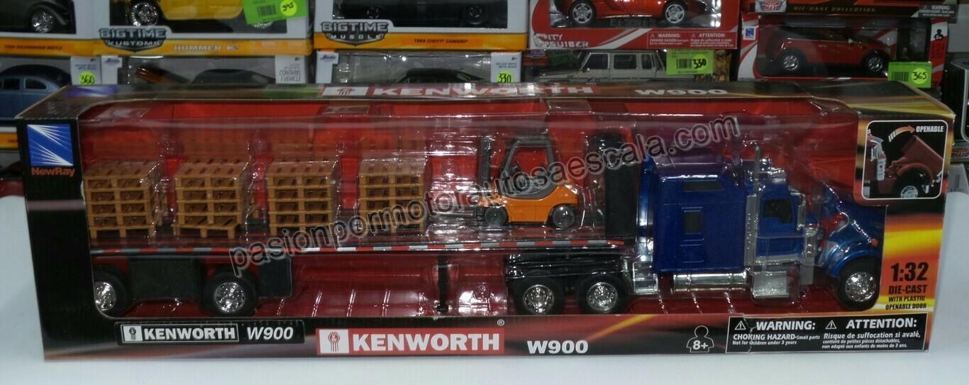 1:32 Kenworth W900 Aerocab Con Trailer Caja Plana, Tarimas y Montacarga New Ray