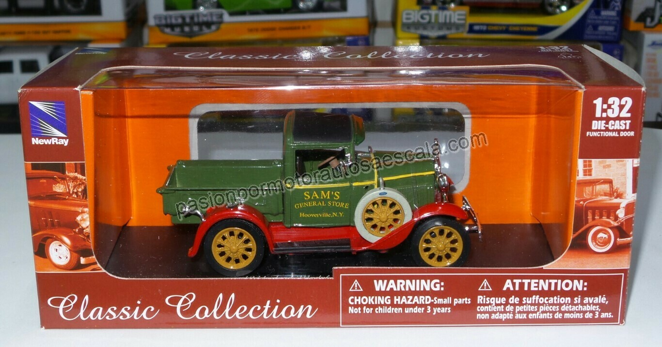 1:32 Ford Modelo A Pick Up 1931 Verde Carcacha New Ray