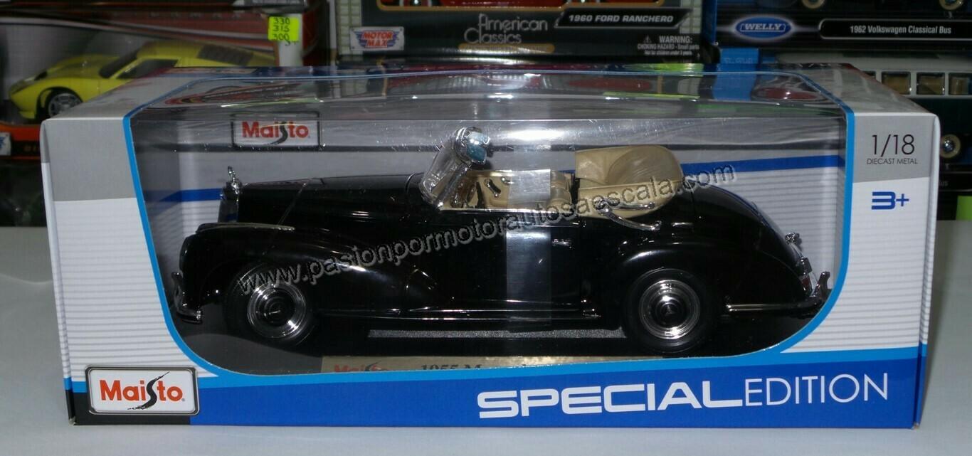 1:18 Mercedes Benz 300S Convertible 1955 Negro Maisto Special Edition