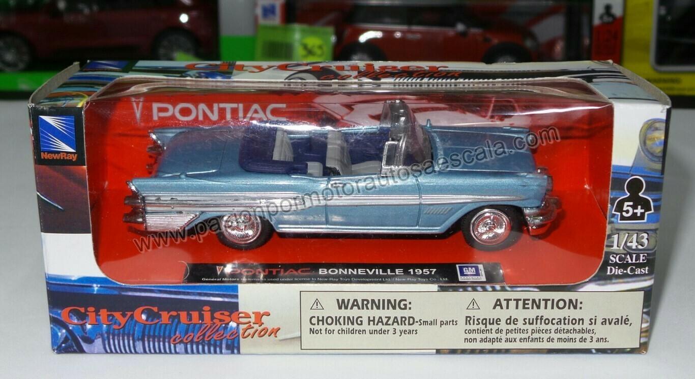 1:43 Pontiac Bonneville Convertible 1957 Azul New Ray