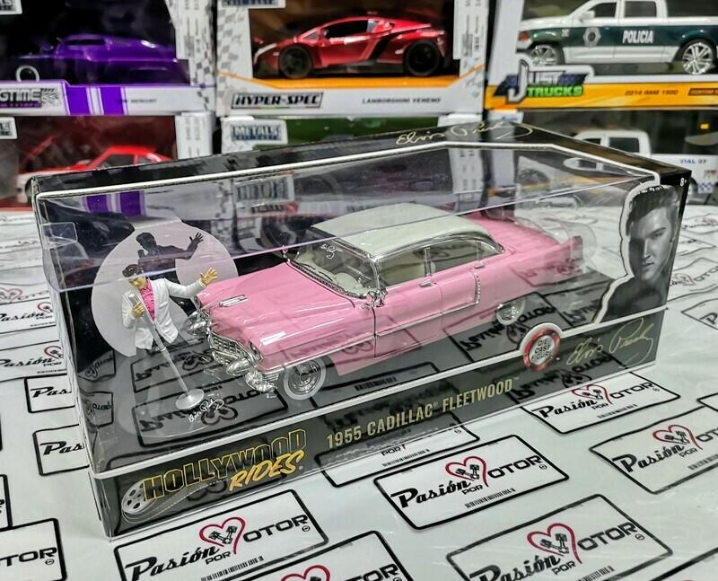 1:24 Cadillac Fleetwood 1955 Rosa Con Figura de Elvis Presley Jada Toys Hollywood Rides En Caja
