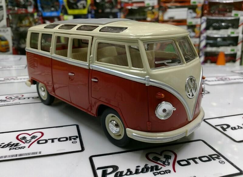 1:24 Volkswagen Combi Classical Bus 1962 Rojo C Beige Kinsmart En Display / A Granel