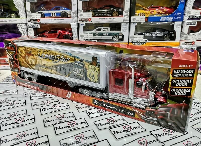 1:32 International Lonestar 2008 Tinto C Trailer Caja Seca c Gráficos Route 66 New Ray