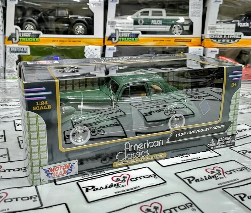 1:24 Chevrolet Coupe 1939 Verde Motor Max C Caja Carcacha