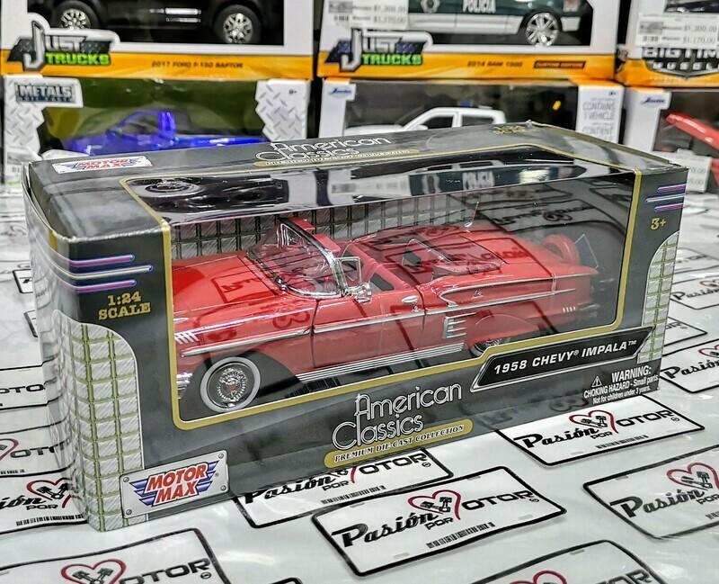 1:24 Chevrolet Impala Convertible 1958 Rojo Motor Max American Classics C Caja