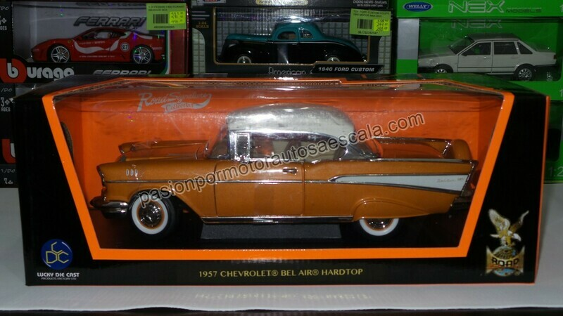 1:18 Chevrolet Bel Air 1957 Coupe Cobre Lucky Die Cast - Road Signature