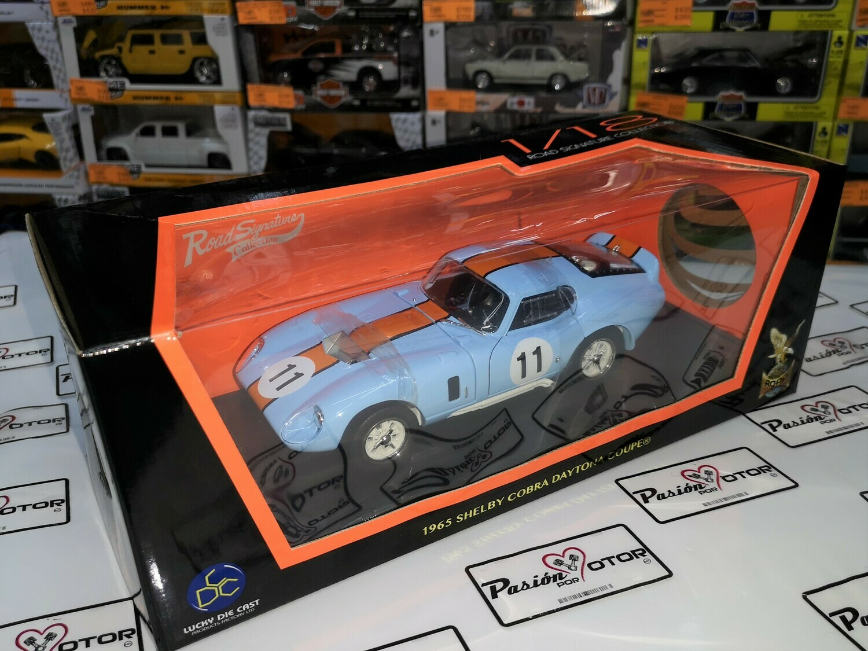 1:18 Shelby Cobra Daytona Coupe 1965 Azul Naranja Lucky Die Cast - Road Signature