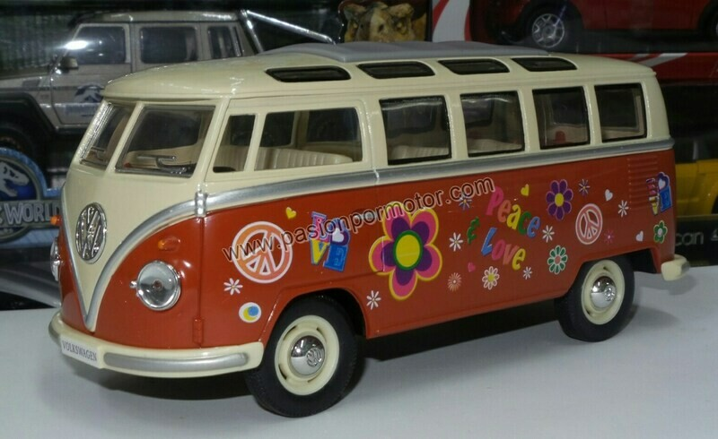 1:24 Volkswagen Combi Bus 1962 Rojo C Beige Hippie Kinsmart En Display / A Granel