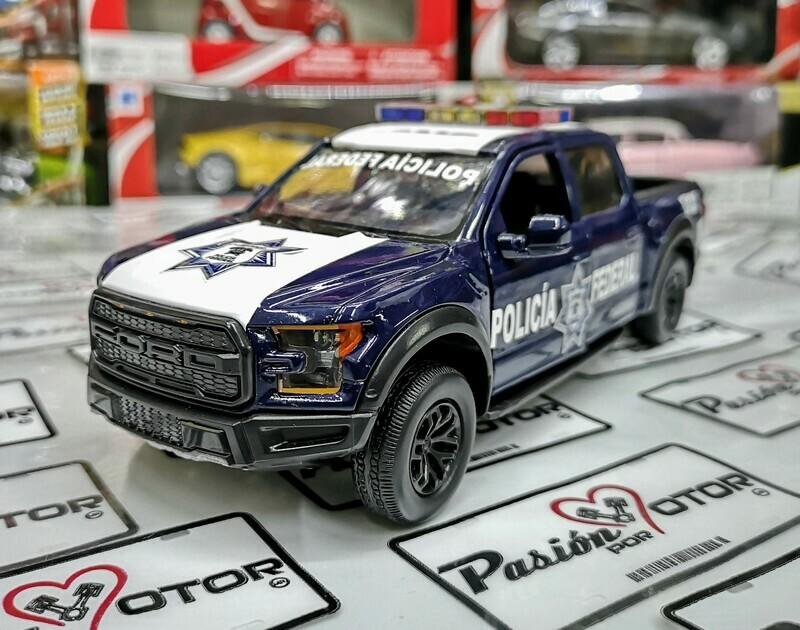 1:27 Ford F-150 Raptor 2017 Patrulla Policia Federal Mexico Con Luces Motor Max Custom En Display / A Granel 1:24