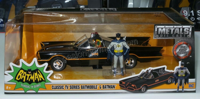 1:24 Batimovil Classic TV Series 1966 Con Figura de Batman y Robin Jada Toys Metals DC Comics En Display / A Granel