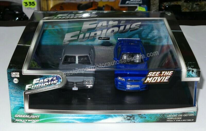 1:43 Chevrolet Chevelle SS 1970 Dom´s Gris / Nissan Skyline GT-R 2002 Brian´s Azul Set Rapido y Furioso de Greenlight