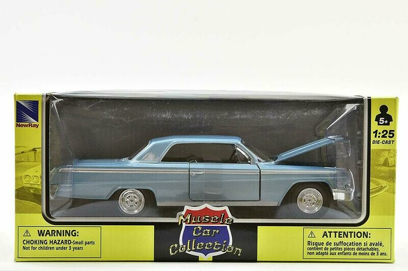 1:25 Chevrolet Impala Coupe 1962 Azul New Ray Muscle Car Collection C Caja